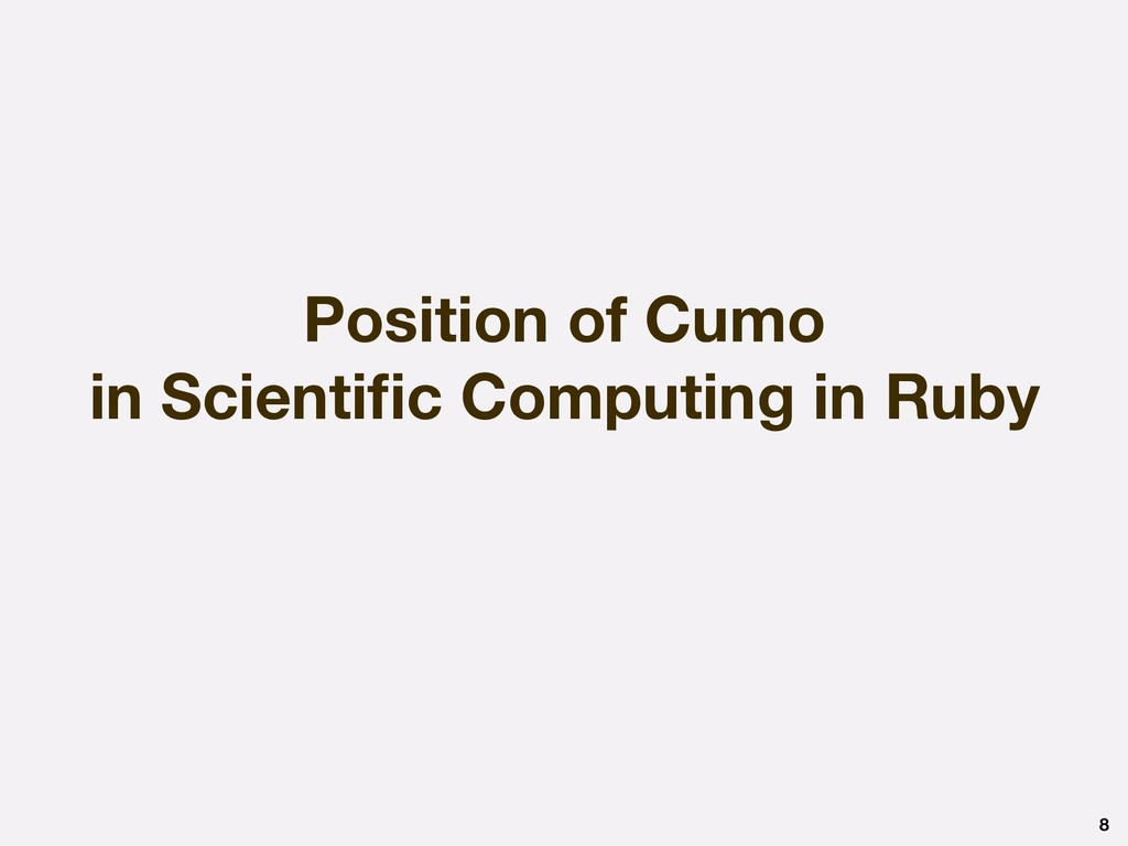 Position of Cumo in Scientific Computing in Ruby...