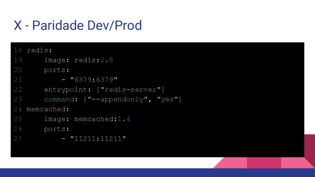 X - Paridade Dev/Prod 18 redis: 19 image: redis...