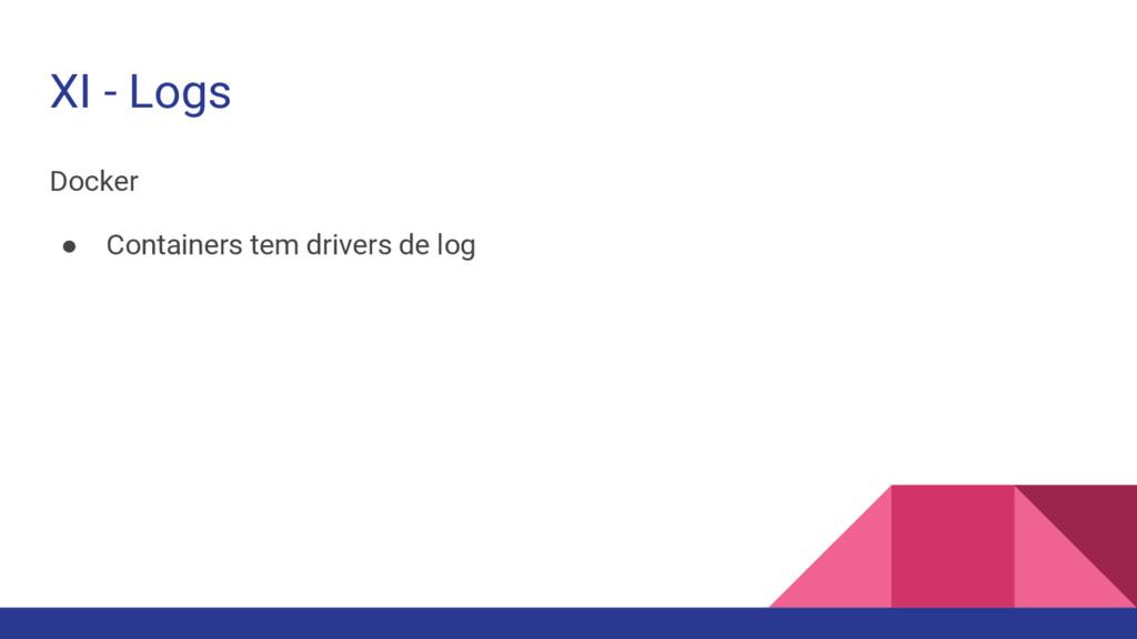 XI - Logs Docker ● Containers tem drivers de log