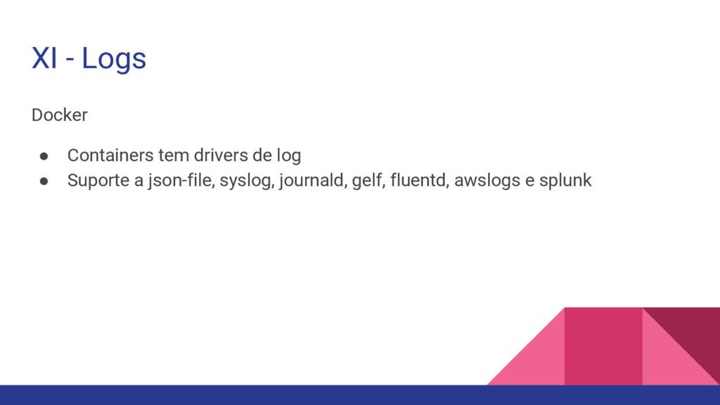 XI - Logs Docker ● Containers tem drivers de lo...