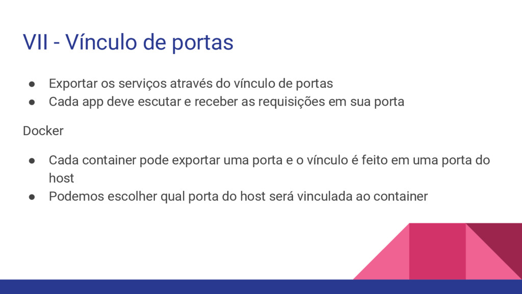 VII - Vínculo de portas ● Exportar os serviços ...