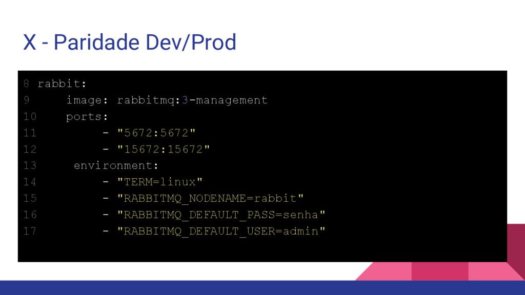 X - Paridade Dev/Prod 8 rabbit: 9 image: rabbit...