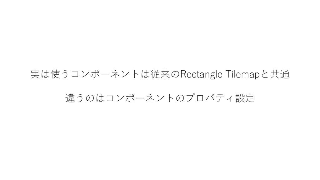 実は使うコンポーネントは従来のRectangle Tilemapと共通 違うのはコンポーネント...