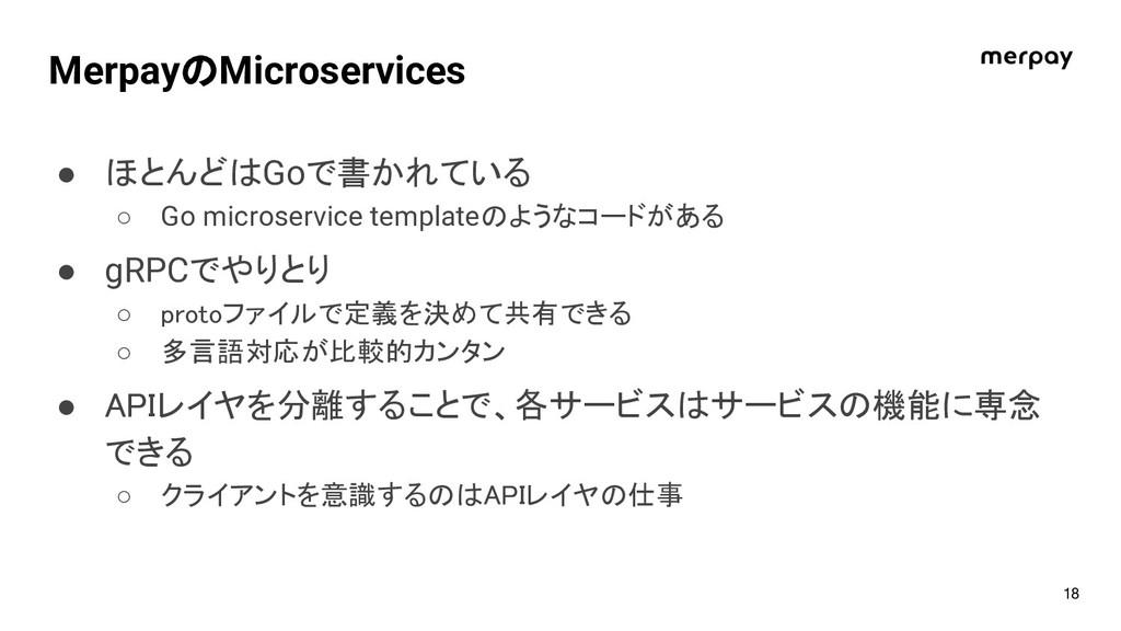 MerpayのMicroservices ● ほとんどはGoで書かれている ○ Go micr...