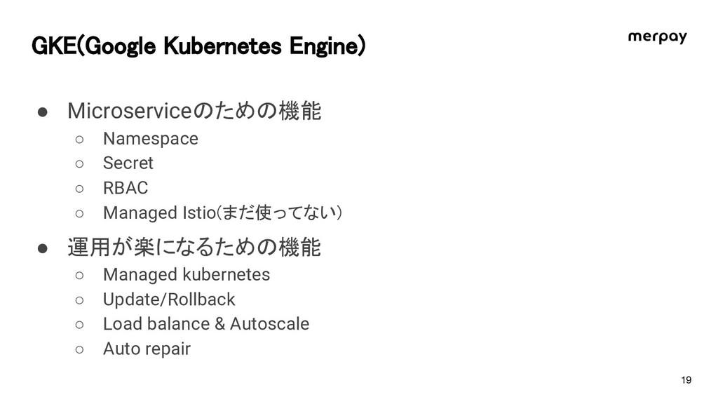 G E(Google ubernetes Engine) ● Microserviceのための...