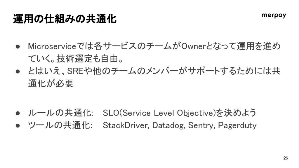 運用の仕組みの共通化 ● icroserviceでは各サービスのチームが wnerとなって運用...