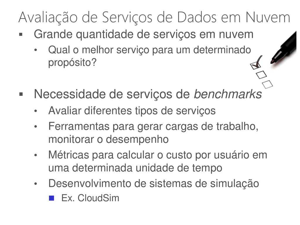 Avaliação de Serviços de Dados em Nuvem  Grand...