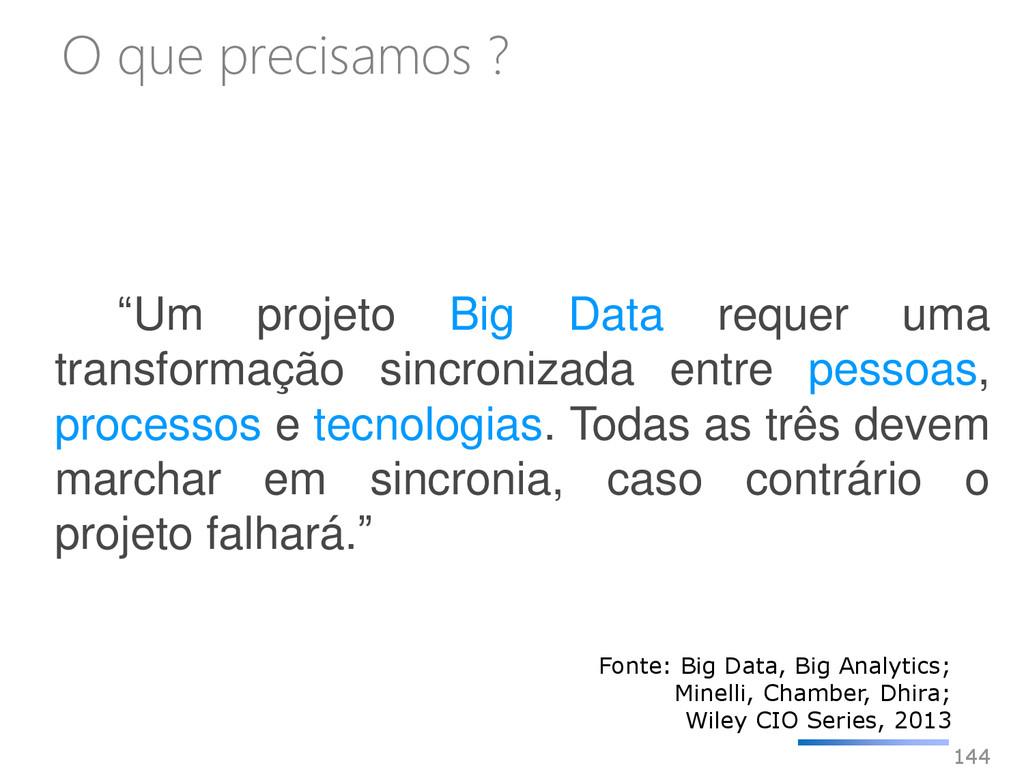 """144 """"Um projeto Big Data requer uma transformaç..."""