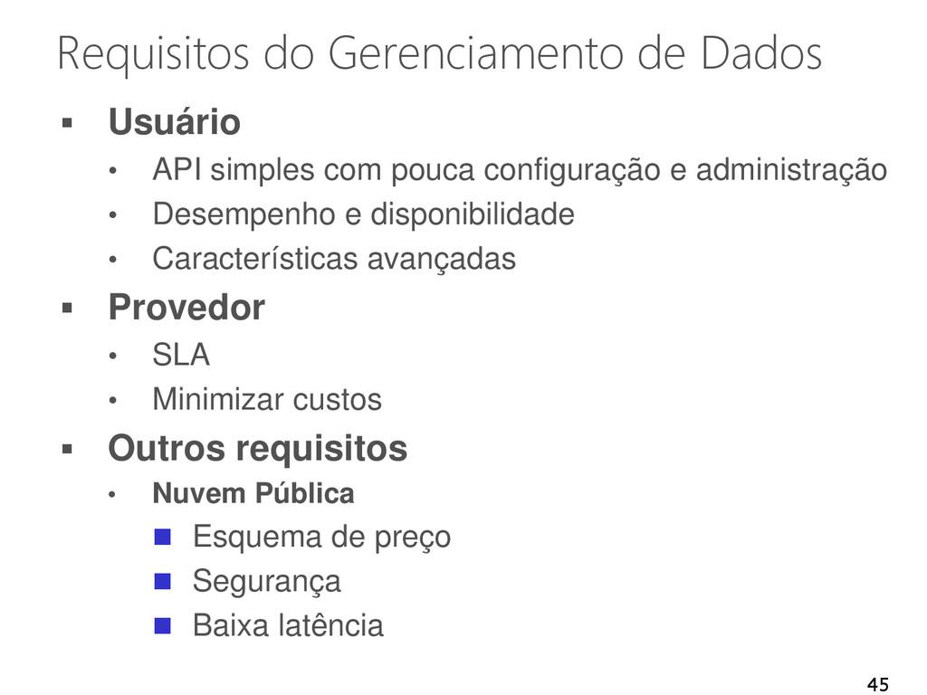 Requisitos do Gerenciamento de Dados  Usuário ...