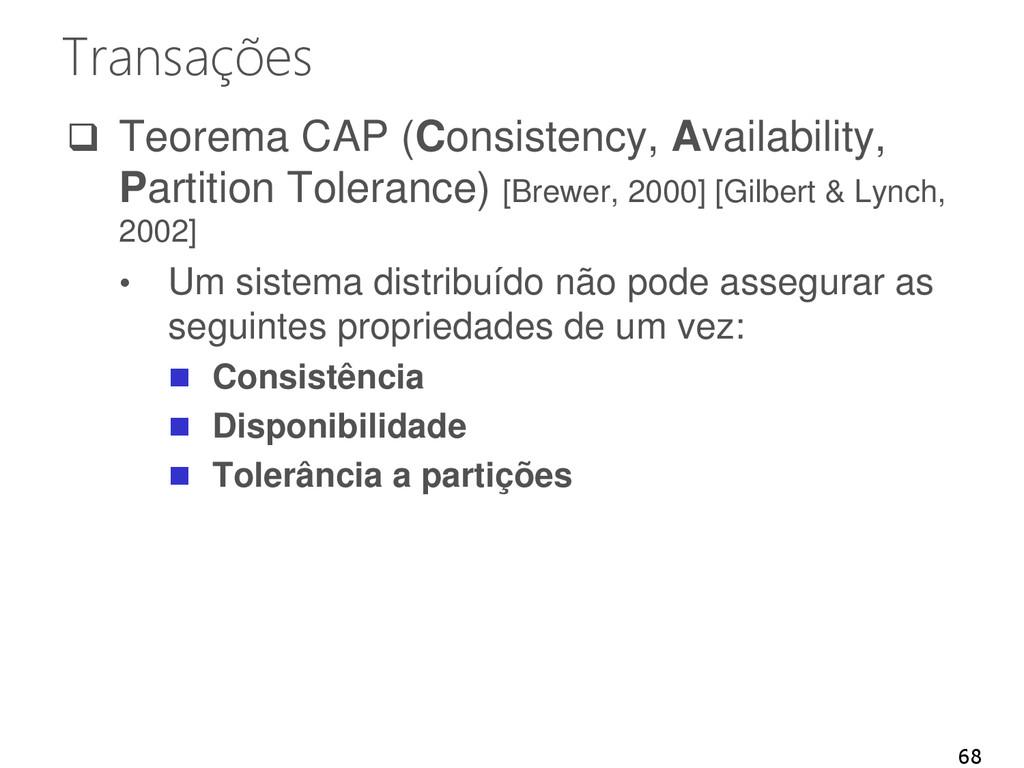 Transações  Teorema CAP (Consistency, Availabi...