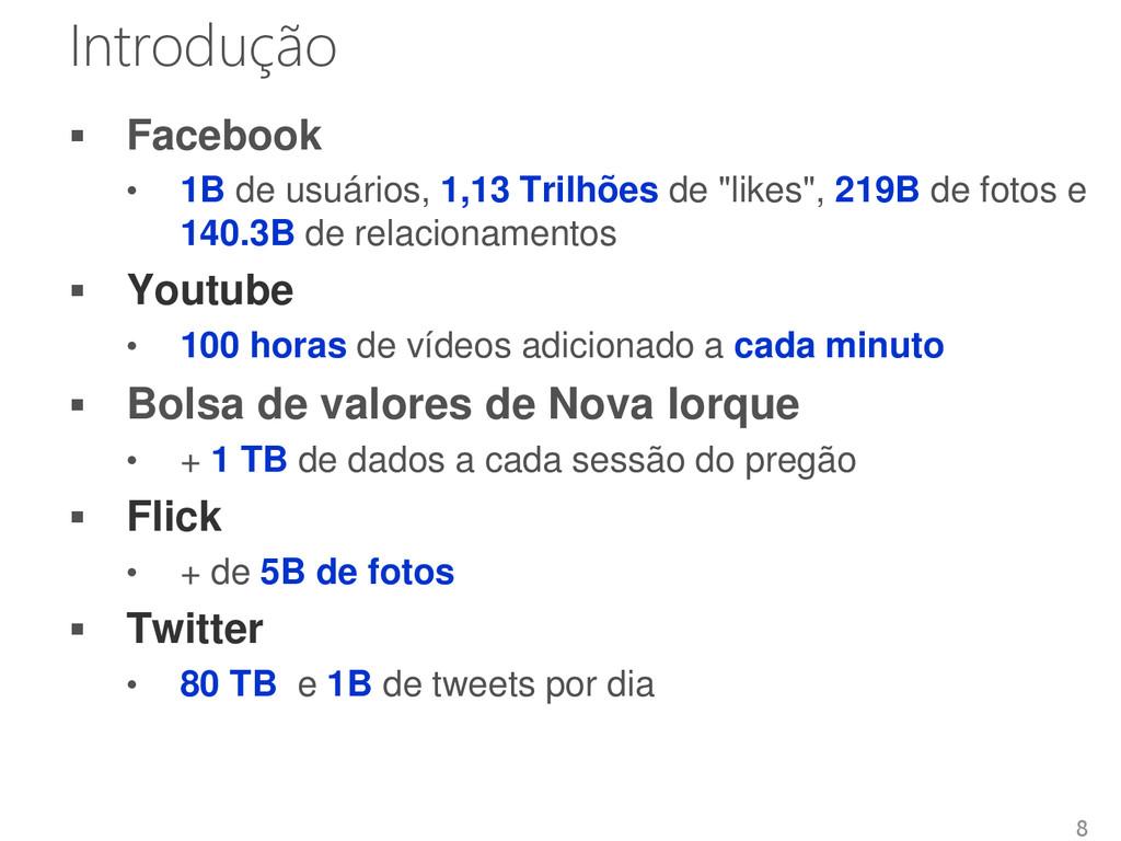 Introdução  Facebook • 1B de usuários, 1,13 Tr...