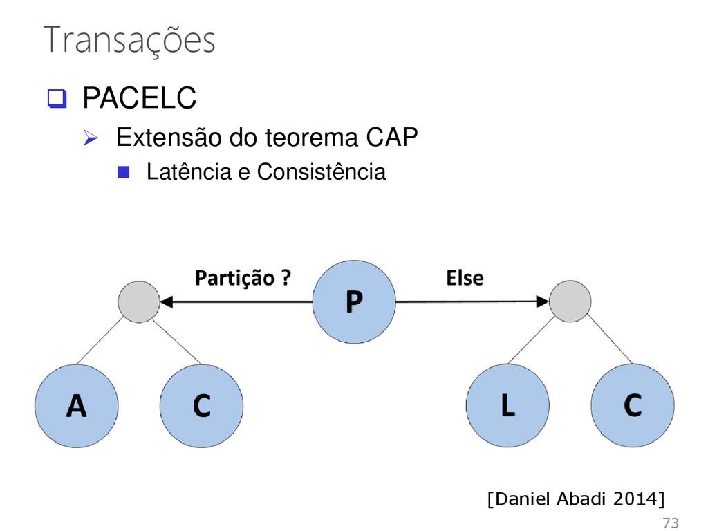 Transações 73  PACELC  Extensão do teorema CA...