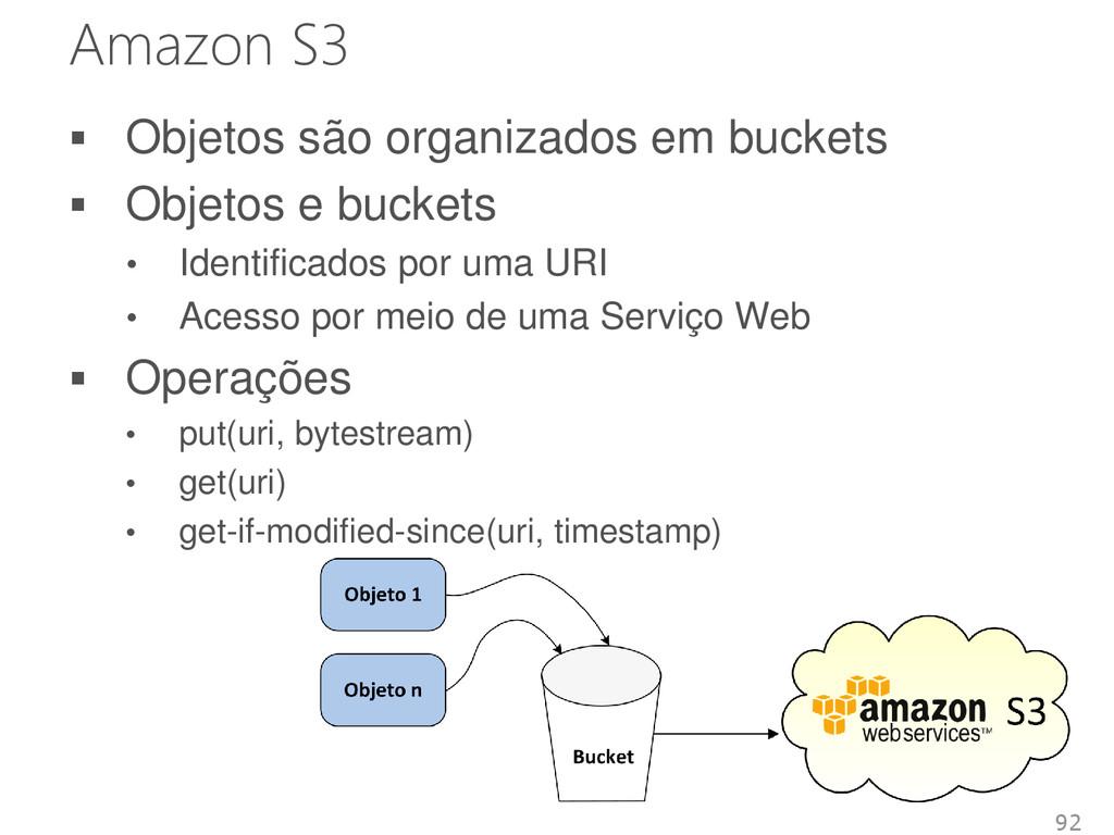 Amazon S3 92  Objetos são organizados em bucke...