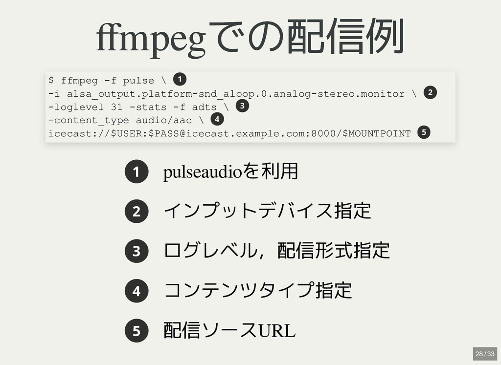 / ffmpegでの配信例 ffmpegでの配信例 1 pulseaudioを利用 2 インプット...