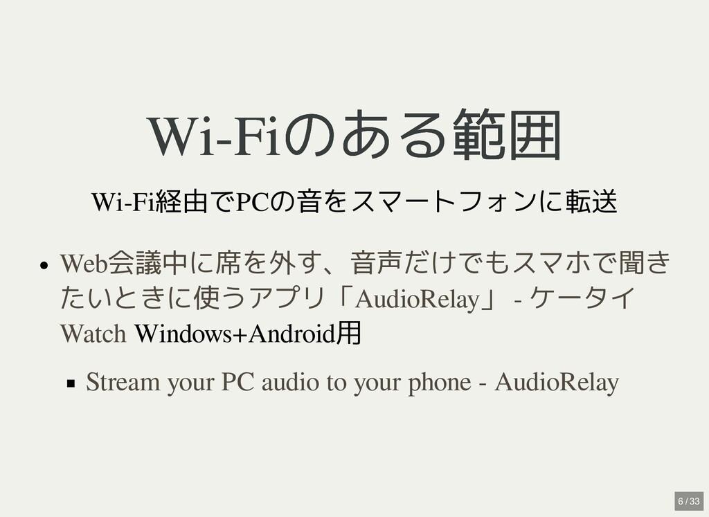 / Wi-Fiのある範囲 Wi-Fiのある範囲 Wi-Fi経由でPCの音をスマートフォンに転送...