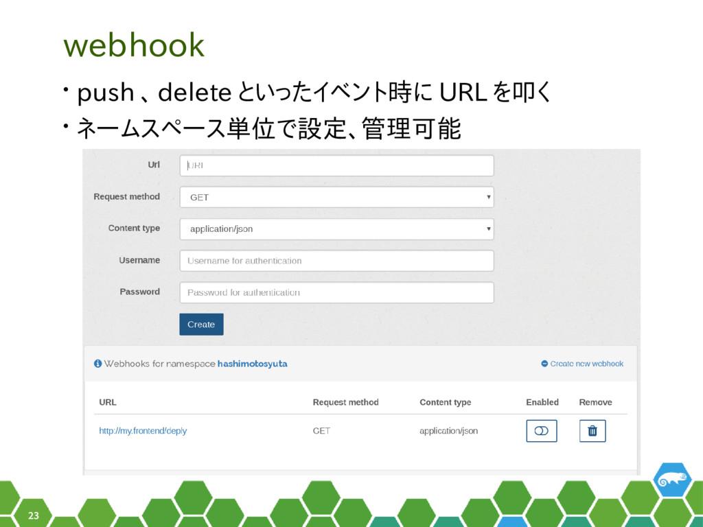 23 webhook • push 、 delete といったイベント時に URL を叩く •...