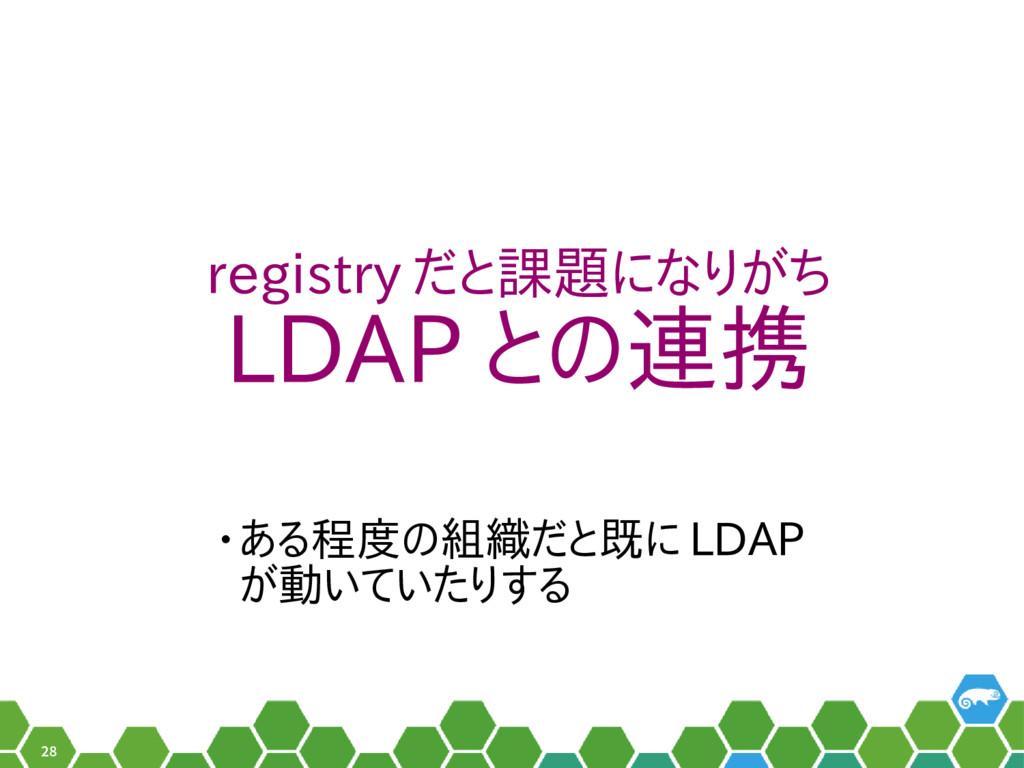 28 registry だと課題になりがち LDAP との連携 • ある程度の組織だと既に L...