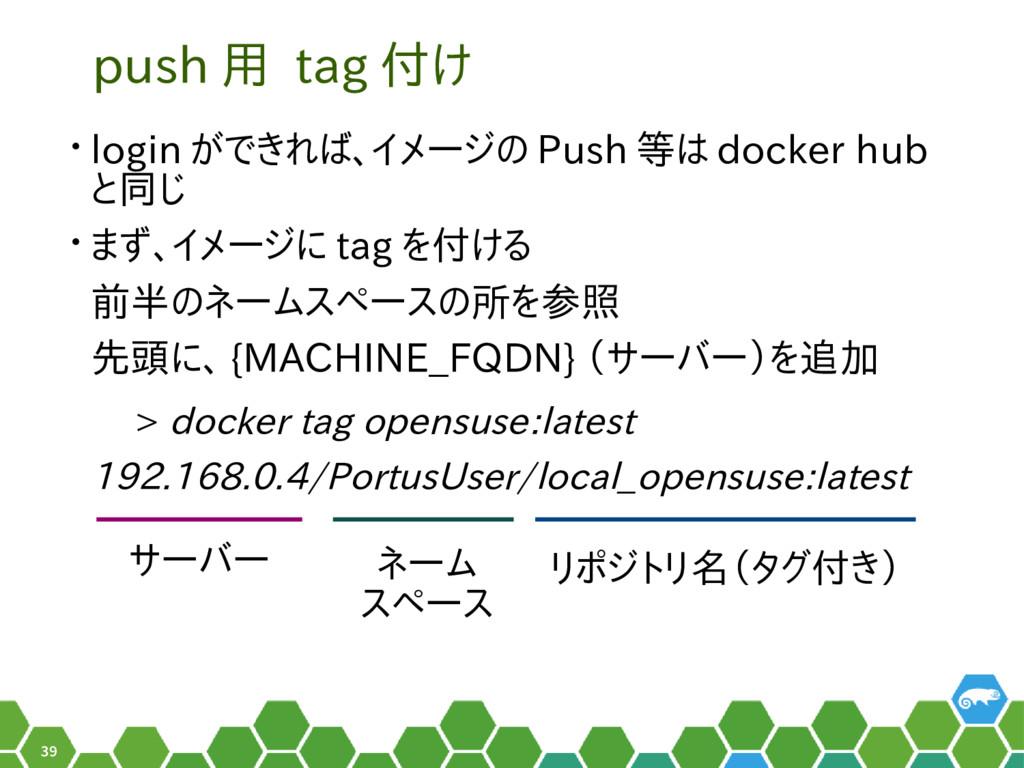 39 push 用 tag 付け • login ができれば、イメージの Push 等は do...