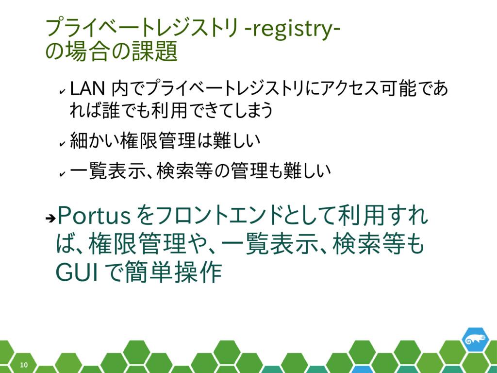 10 プライベートレジストリ -registry- の場合の課題 ✔ LAN 内でプライベート...