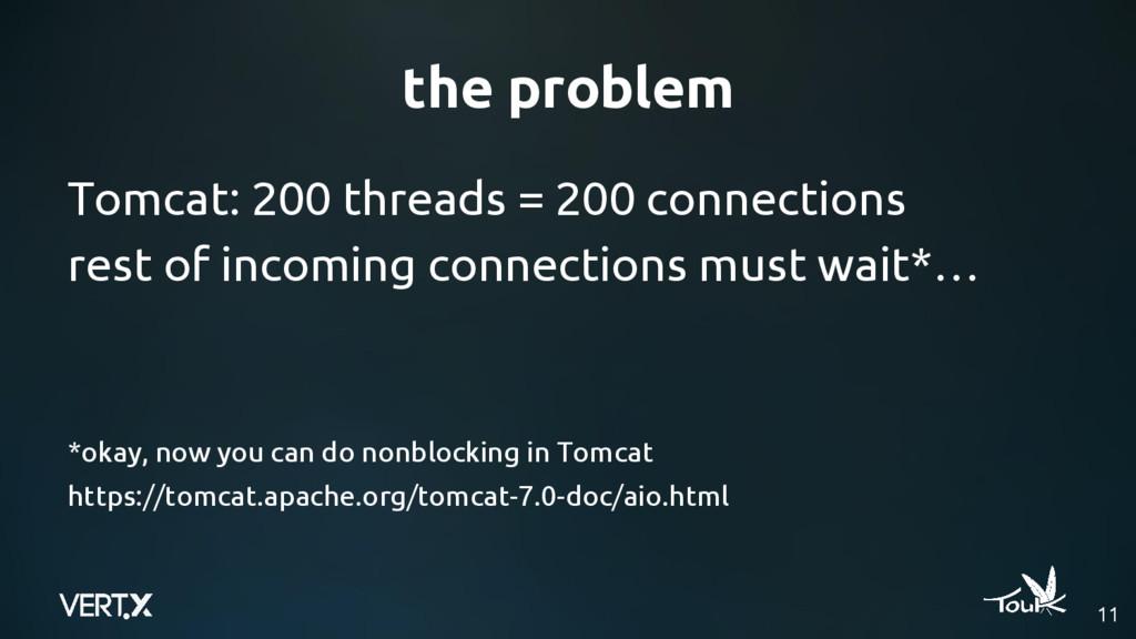 the problem 11 Tomcat: 200 threads = 200 connec...