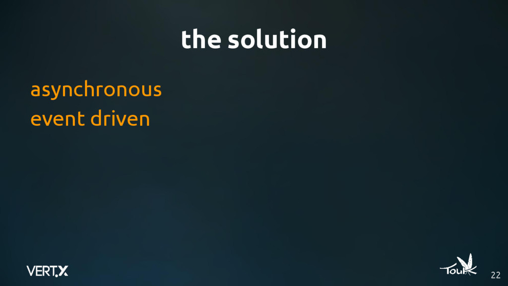 the solution 22 asynchronous event driven