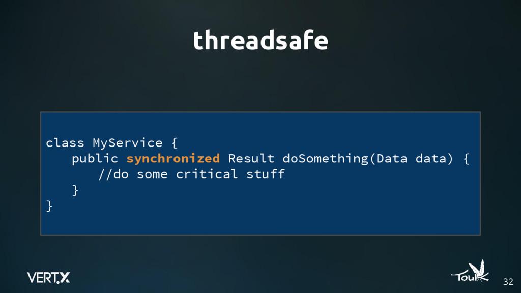 threadsafe 32 class MyService { public synchron...