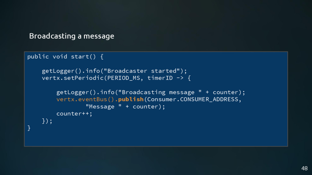 "48 public void start() { getLogger().info(""Broa..."