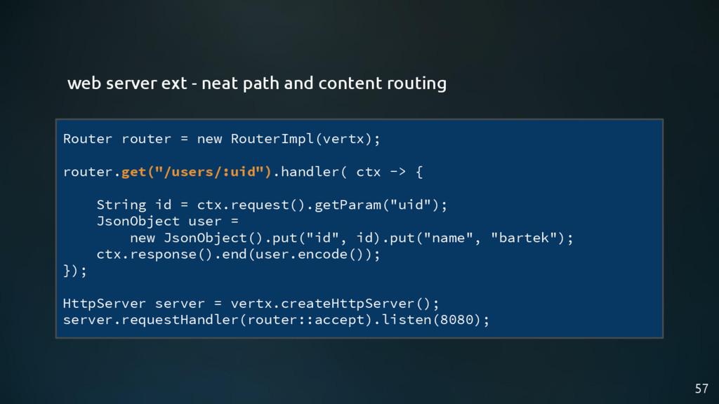 57 Router router = new RouterImpl(vertx); route...