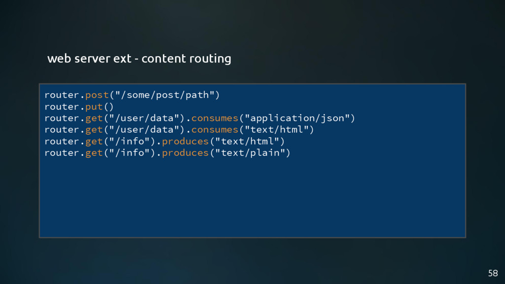 """58 router.post(""""/some/post/path"""") router.put() ..."""