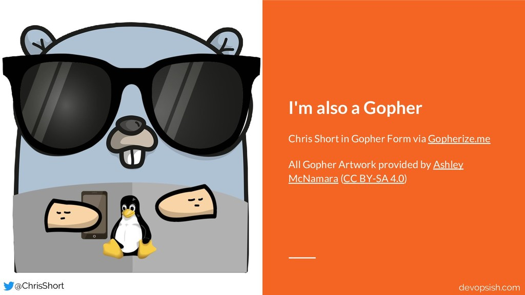 I'm also a Gopher Chris Short in Gopher Form vi...