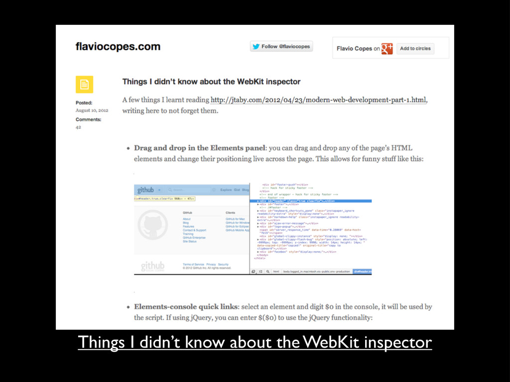 Things I didn't know about the WebKit inspector