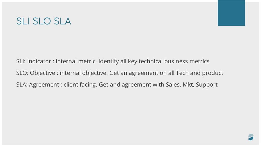 SLI SLO SLA SLI: Indicator : internal metric. I...