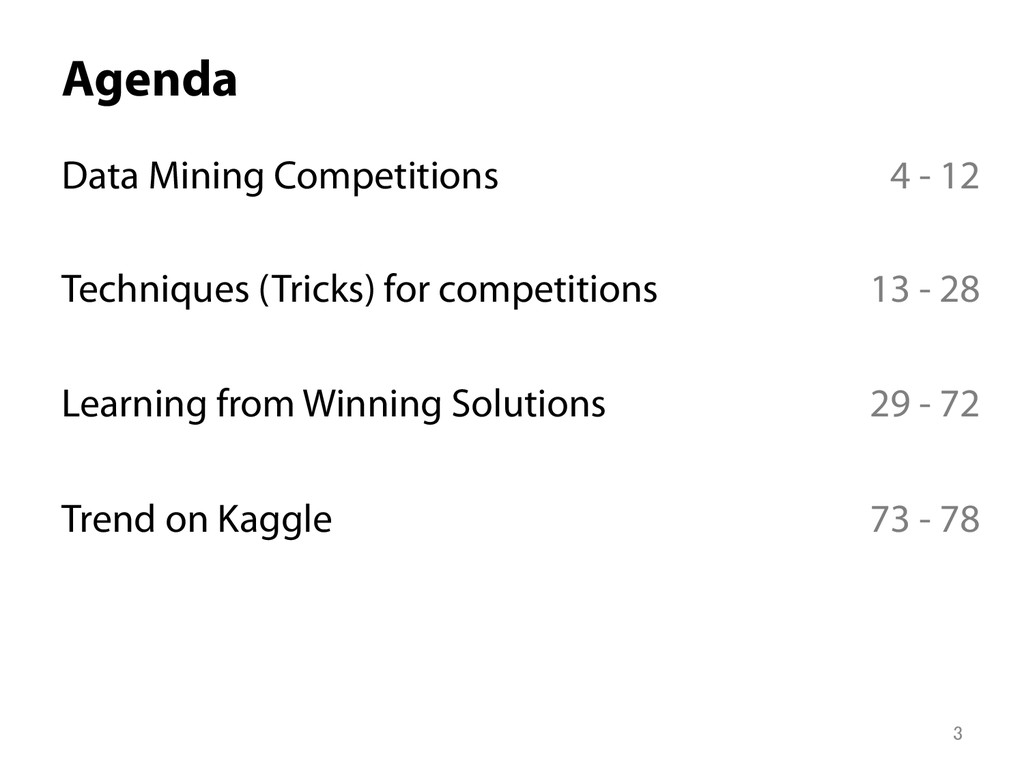 Agenda Data Mining Competitions Techniques (Tr...