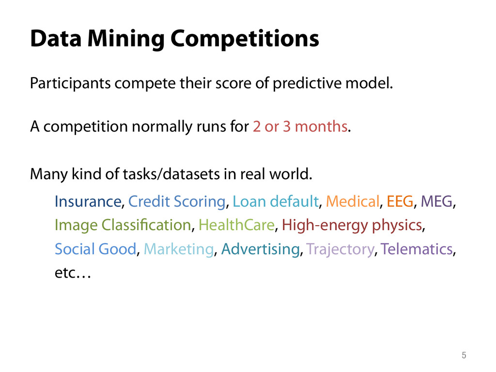 Data Mining Competitions Participants compete ...