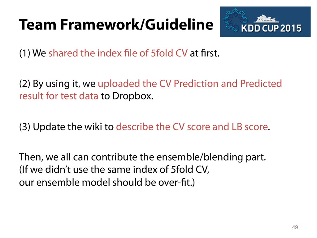 Team Framework/Guideline (1) We shared the ind...