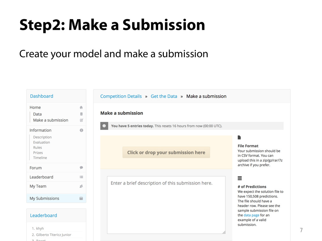 Step2: Make a Submission Create your model and...