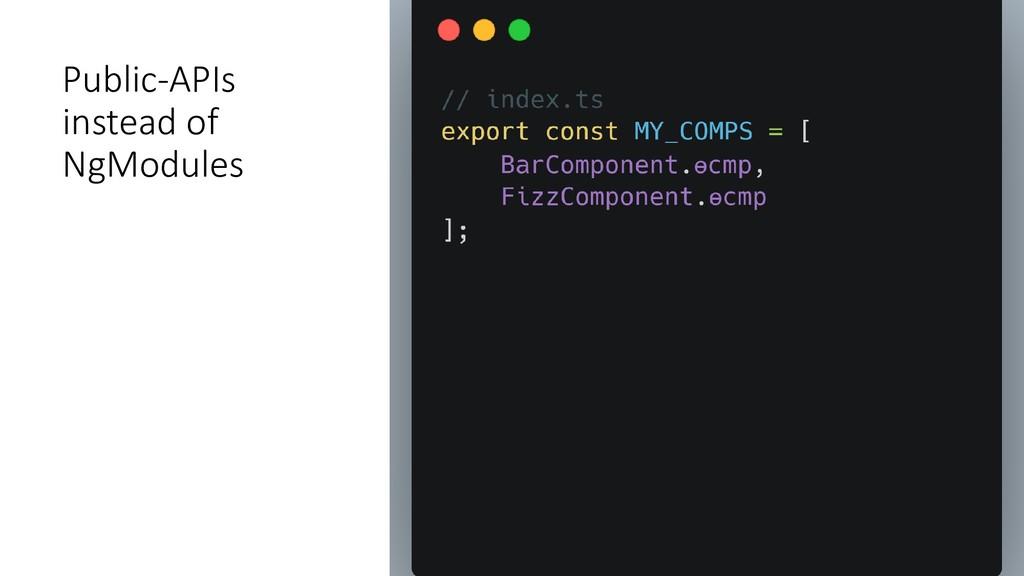 Public-APIs instead of NgModules
