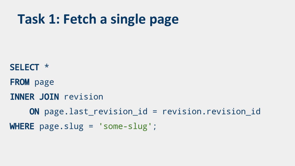 Task 1: Fetch a single page SELECT * FROM page ...