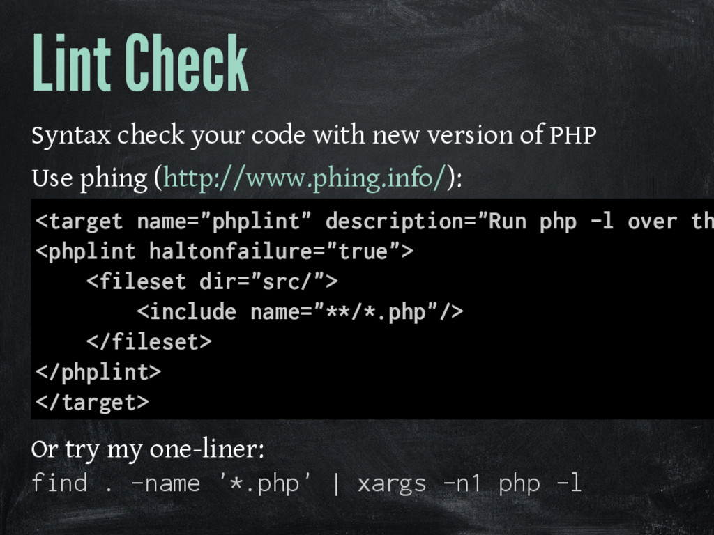 Lint Check Syntax check your code with new vers...