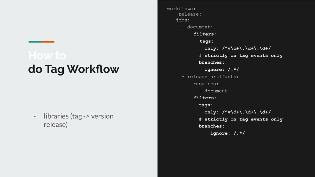 How to do Tag Workflow - libraries (tag -> versi...