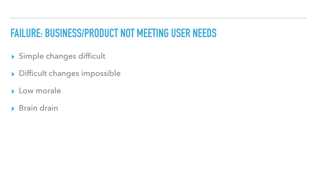 FAILURE: BUSINESS/PRODUCT NOT MEETING USER NEED...