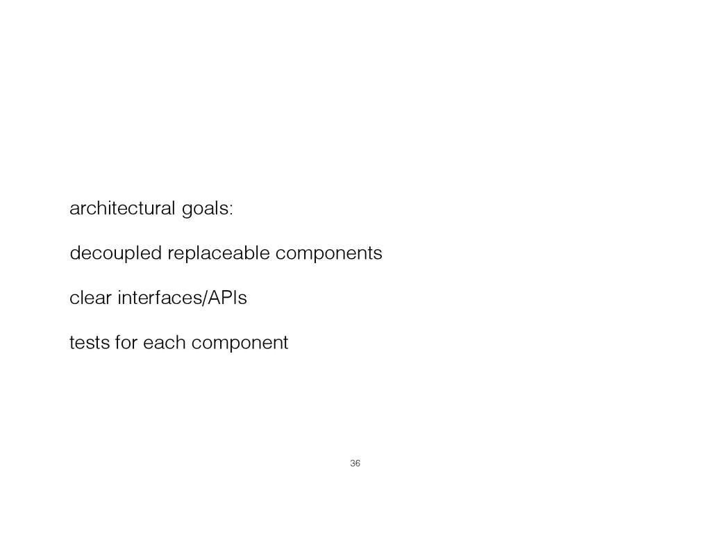architectural goals: decoupled replaceable comp...
