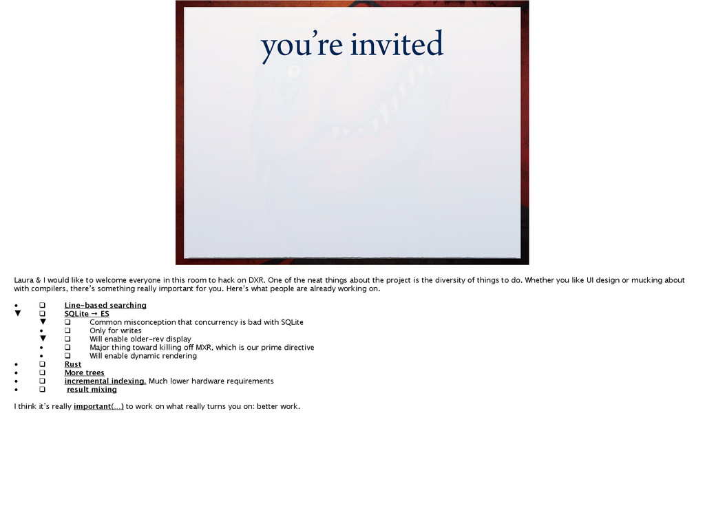 you're invited Laura & I would like to welcome ...