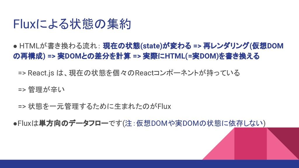 Fluxによる状態の集約 ● HTMLが書き換わる流れ: 現在の状態(state)が変わる =...