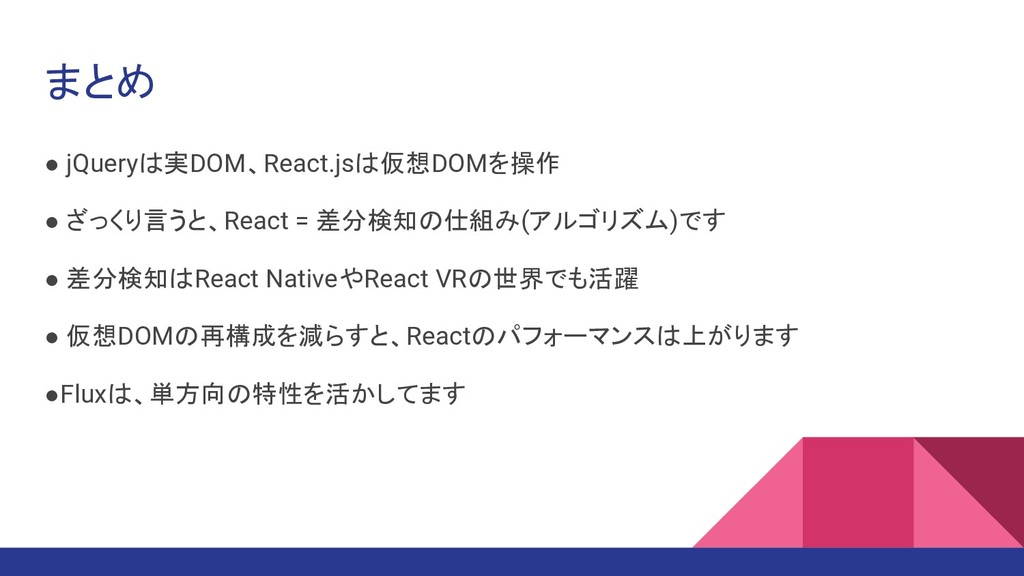 まとめ ● jQueryは実DOM、React.jsは仮想DOMを操作 ● ざっくり言うと、R...