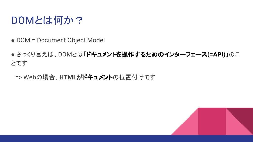 DOMとは何か? ● DOM = Document Object Model ● ざっくり言え...