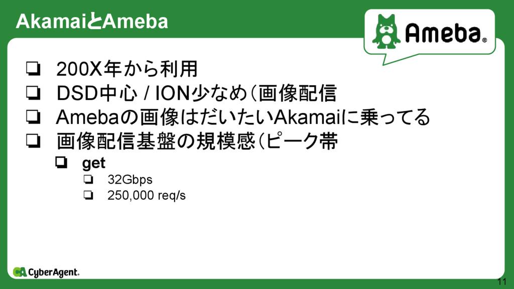 AkamaiとAmeba 11 ❏ 200X年から利用 ❏ DSD中心 / ION少なめ(画像...