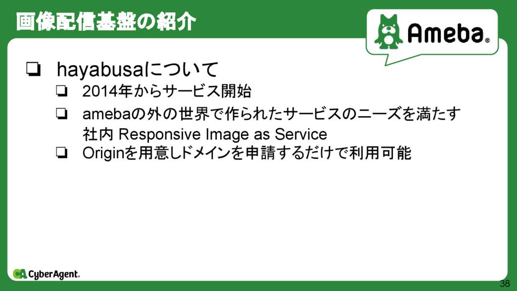画像配信基盤の紹介 38 ❏ hayabusaについて ❏ 2014年からサービス開始 ❏ a...