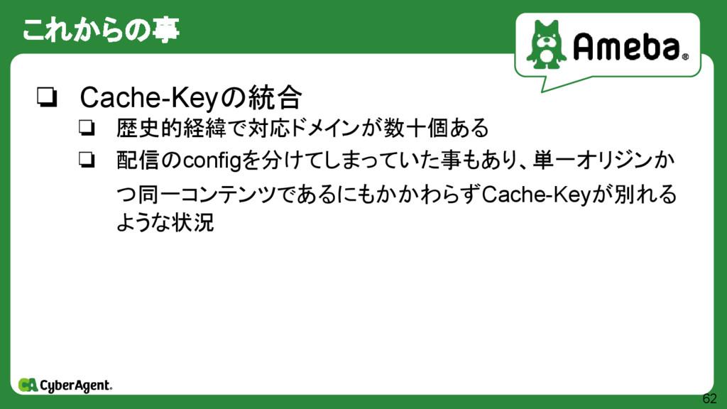 これからの事 62 ❏ Cache-Keyの統合 ❏ 歴史的経緯で対応ドメインが数十個ある ❏...