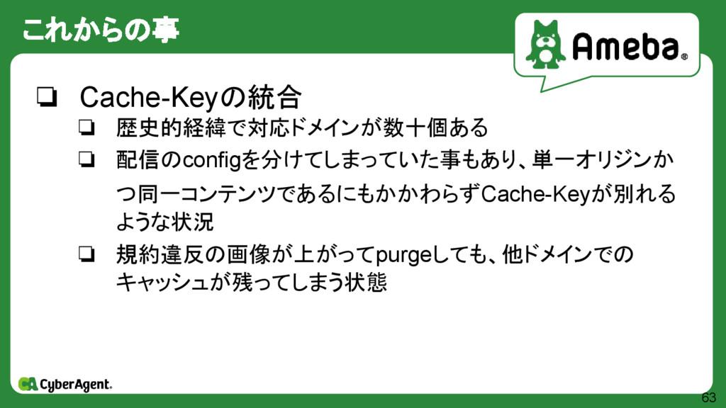 これからの事 63 ❏ Cache-Keyの統合 ❏ 歴史的経緯で対応ドメインが数十個ある ❏...